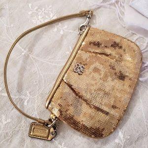 Coach Golden Sparkle Sequin Mini Wristlet Women's